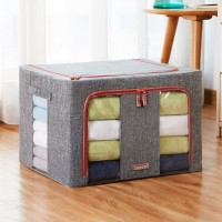 Metal Steel Frame Cloth Quilt Storage Box Bins Closet Living Box with Clear Window