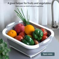 Multifunction Foldable Chopping Board Colander Vegetable Fruit Washing Basket Bowl